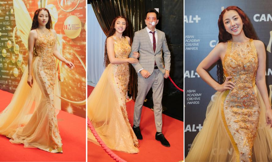 Asian Academy Creative Awards ဆုေပးပြဲေလးကို ခမ္းနားထည္ဝါတဲ့ဖက္ရွင္ေလးဝတ္ကာ ခ်စ္ေဖေဖနဲ႔အတူ တက္ေရာက္ခဲ့တဲ့ ပန္းေရာင္ျခယ္